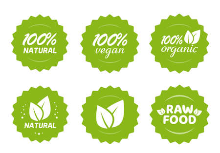 Organic natural, vegan and raw food nutrition icon label vector stickers with leaves set, 100 percent healthy meal, modern green badge for product packaging isolated tags collection clipart image 일러스트