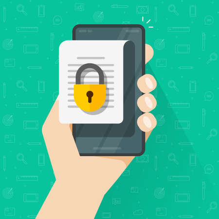 Mobile document with secure confidential online access and private lock, digital permission concept on phone smartphone file vector flat, web privacy internet protection of electronic data image 일러스트