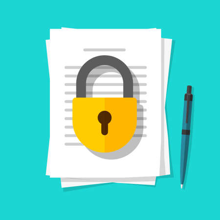 Secure confidential documents pile with locked access vector flat cartoon illustration, permission concept, paper sheet files with padlock protection and pen, private or privacy data info icon image