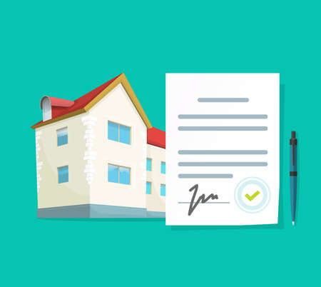 Real estate contract vector or agreement to loan mortgage on new apartment concept with approved signed document