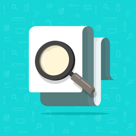 Paper document inspection or search via magnifier glass vector flat, concept fraud control audit research, file review and analyze idea, evaluation or assessment, study and examine verify image Ilustração