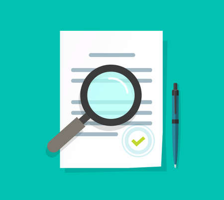 Statement terms document audit review vector flat with green background.