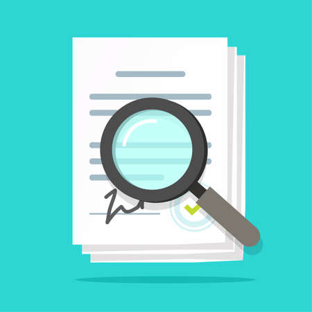 Analysis inspection audit of agreement contract documents vector, statement terms review vector flat, compliance paperwork verification, assessment evaluation, legal law business corporations bylaws