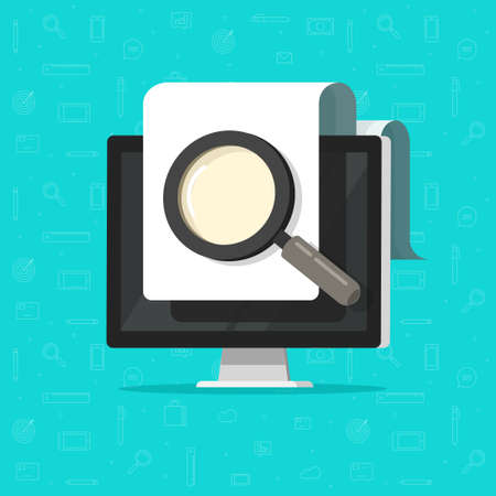 Digital electronic document inspection review, online search or find via magnifier glass on computer pc screen vector flat cartoon, fraud assessment control idea, file review analyze evaluation image