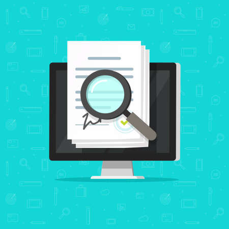 Corporations bylaws online analysis inspection audit, digital agreement contract documents vector on computer pc, compliance statement terms review, internet paperwork verification assessment