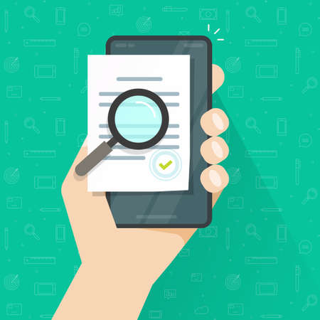 Mobile online compliance digital document inspection or assessment evaluation on smartphone phone vector, audit review, cellphone statement terms flat design, electronic agreement contract analysis
