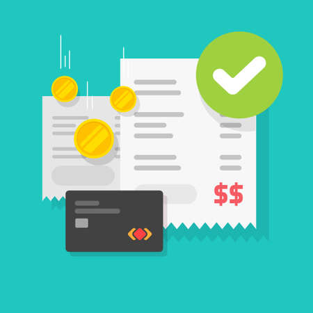 Payment transaction success approved check mark notice on receipt bill invoice credit bank card vector flat