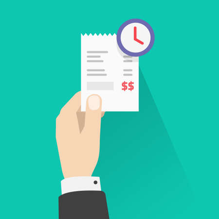 Pay bill waiting, recurring payment concept vector, money transfer period idea, person man holding paper receipt with clock timer awaiting, schedule cash or money transaction image