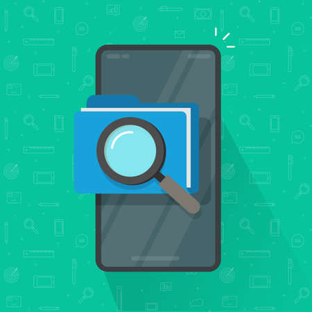 Mobile scan or inspection of file folder documents on cell phone vector flat cartoon, smartphone archive review investigation, online analyzing check, law legal docs, find or search on cellphone image 일러스트