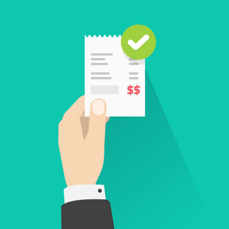 Person holding success approved payment paper receipt bill invoice vector flat cartoon, man validated or verify pay notice checkmark online, successful paid status, completed money transfer 일러스트