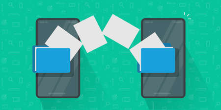 Share or transfer files between mobile phones vector, idea of copy documents from smartphone to cell phone, connected cellphones and sending or exchange media data technology image 일러스트