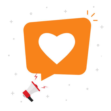 Need love or social media likes from bubble speech message vector flat cartoon concept, balloon with heart shape icon, valentines day notice or loud announcement idea image