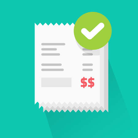 Success verified paid bills receipts with approved check mark notice on invoice vector flat cartoon icon, valid completed checkmark notification on successful paid online orders pile icon image 일러스트