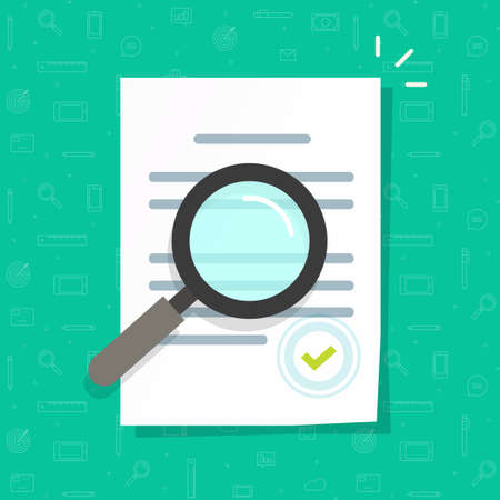 Business legal document expertise or inspection vector icon flat cartoon, concept of order review, corporate file quality revision, law agreement research, office docs audit check modern design image 일러스트