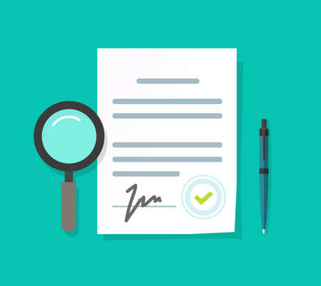 Expertise or inspection or business legal documents vector illustration flat cartoon, audit analyzing agreement or contract terms assessment, law risk review or evaluation icon modern design image