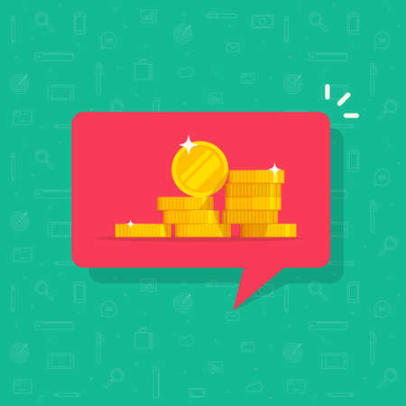 Receiving money notice or incoming cash notice message vector flat cartoon illustration, modern design of currency technology push icon isolated image
