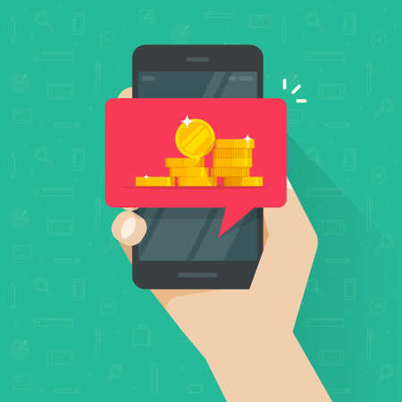 Receiving web digital money on mobile phone cellphone vector flat cartoon illustration, person man got internet electronic coins cash on smartphone, concept of earnings transaction online modern image