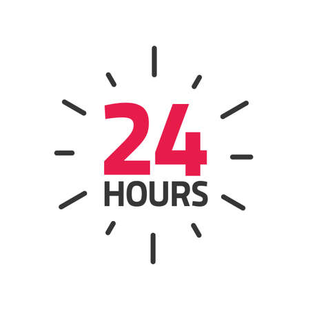 24 hours icon banner vector illustration, all day time open or working shop service label sticker, customer service info sign isolated image