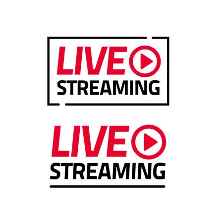 Live streaming icon vector sticker isolated set, broadcasting online video modern label emblem design red black color, television ribbon sticker idea image 일러스트