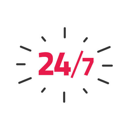 24-7 service label vector, 24 hours by 7 days a week open working time badge tag, concept of support sticker business hours image