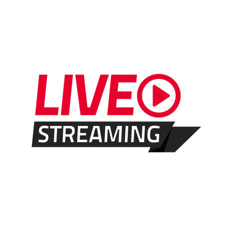 Live streaming vector icon tag isolated, broadcasting online video modern label label badge emblem, television ribbon idea modern design image