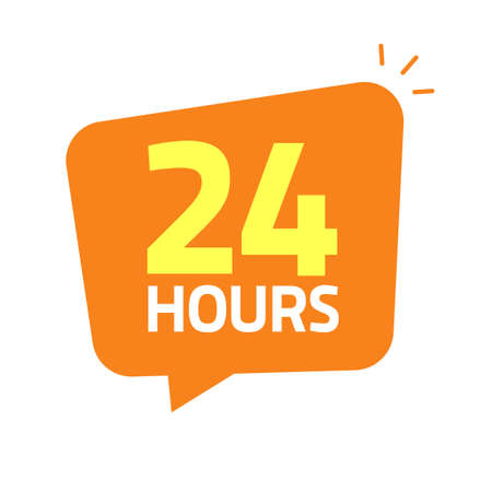 24hrs icon banner vector illustration, 24 hours open tag or working shop service label info sticker image