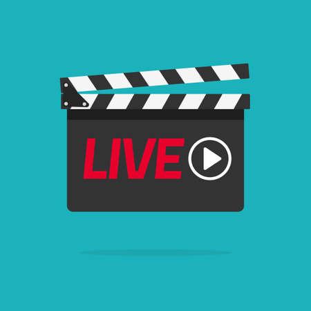 Live streaming icon concept vector flat cartoon illustration, live text on film slate clapperboard and video play button clipart image
