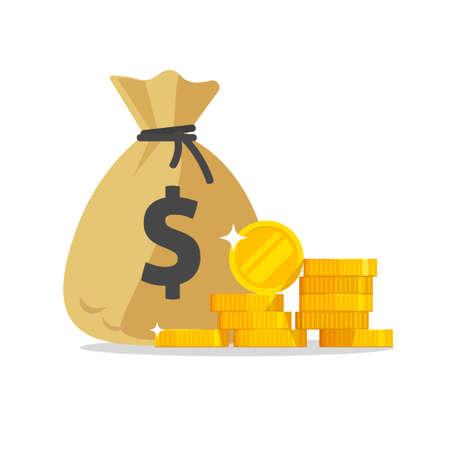 Money bag or cash sack near coins stack icon vector flat cartoon illustration isolated on white background, idea of earnings profit, savings, treasure modern design image