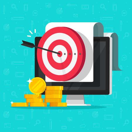 Money marketing target goal as internet digital aim on computer screen vector flat cartoon illustration, concept of strategy achievement, good targeting audience idea image 向量圖像