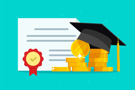 Tuition grant certificate, education study money, diploma expenses cost, learning success investment, graduation degree document fee vector flat cartoon, scholarship savings, expensive image