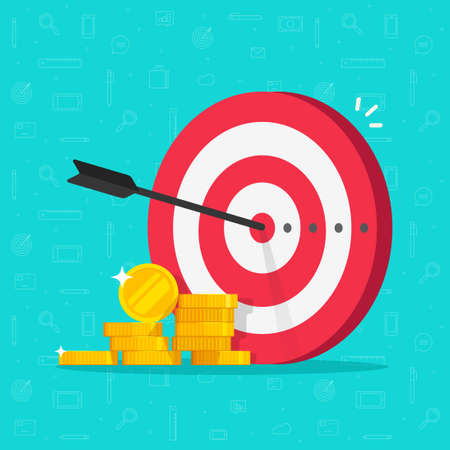 Financial target goal concept vector flat cartoon illustration, idea of marketing business money earnings aim, strategy achievement, success targeting audience modern design image