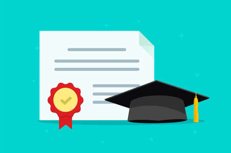 Graduation tuition diploma concept vector flat cartoon illustration, education college university hat with granted document certificate, idea of study learning achievement, congratulation modern image
