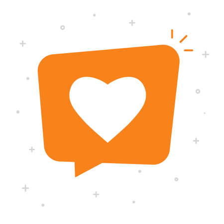 Social like notice bubble speech icon vector concept, flat cartoon love heart message symbol isolated orange color image