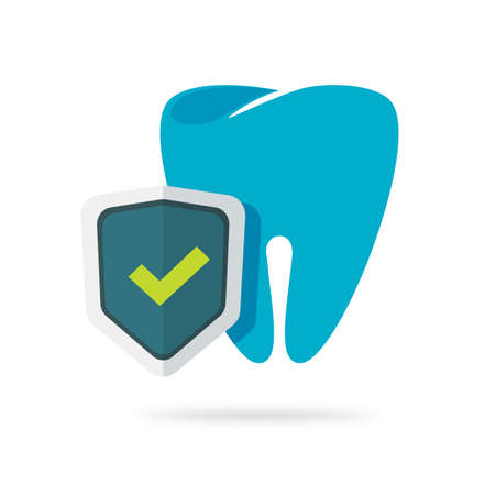 Dental health protection icon vector flat cartoon illustration, tooth defense guard via shield symbol, concept of stomatology dentistry, anti caries safeguard label image