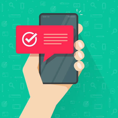 Complete success smart cell phone tick mark or check mark notification notice with text vector flat cartoon illustration, concept checkbox approved note, validated or accepted message image
