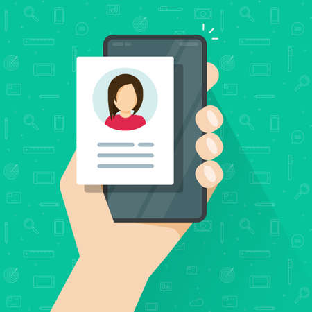 Personal profile credentials data review or account photo with digital candidate information icon on mobile phone vector flat cartoon illustration, concept of recruitment cv document online image
