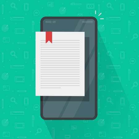 Reading ebook page or digital electronic notepad notebook on cell phone smartphone vector flat cartoon, concept of internet online book text page, textbook sheet on screen on mobile cellphone image 일러스트