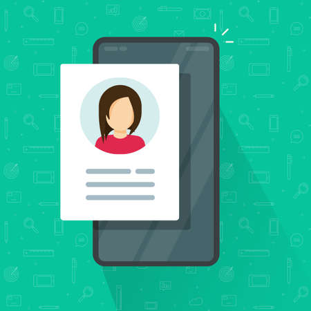 Digital candidate personal contact information data review on mobile cell phone vector flat cartoon illustration, concept cellular smartphone my account profile icon with credentials customer info 일러스트
