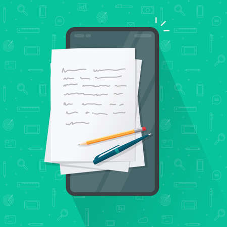 Writing article or letter on mobile cell phone, storytelling content creation, writer notepad notebook app vector flat cartoon illustration, concept of digital copywriting online on smartphone