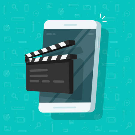 Movie or film creation via mobile cell phone icon flat cartoon, creating video or multimedia content idea via cellphone, smartphone with clapperboard clacker slate on screen image 向量圖像