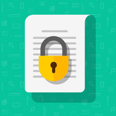 Business information document protection access concept vector or privacy confidential secret info data file locked flat cartoon illustration icon, idea of secure digital documentation image