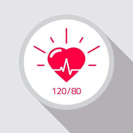 Health icon vector flat cartoon, concept of heart and good blood pressure rate medical symbol, pulse healthcare monitoring test sign, ecg heartbeat illustration image 向量圖像