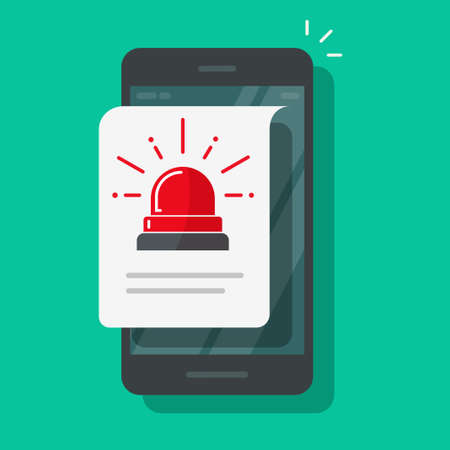 Mobile cellular phone alarm alert file icon or caution message vector flat cartoon isolated, risk attention warning safety info notice, smartphone notification with danger siren flasher data image