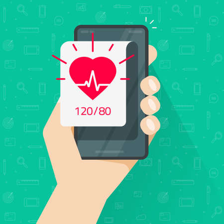 Person monitoring heart beat rate and blood pressure app via mobile cell phone vector flat cartoon, man tracking or checking health info on smartphone, pulse healthcare test icon, ecg heartbeat image