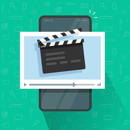 Creating or editing video content, movie or film via mobile cell phone flat cartoon illustration, cellphone smartphone with clapperboard clacker slate on screen and cinema video player modern image