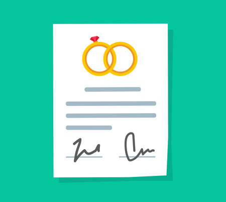 Marriage contract or prenuptial agreement legal document vector flat cartoon icon, prenup wedding certificate with signatures image