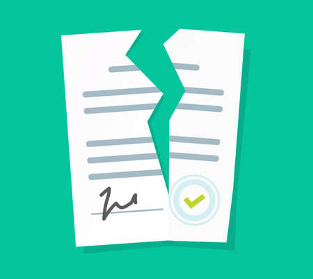 Broken contract vector or breach of agreement flat cartoon icon, idea of expired legal signed document, deal termination, cancelation or end of partnership concept, torn paper file image 向量圖像