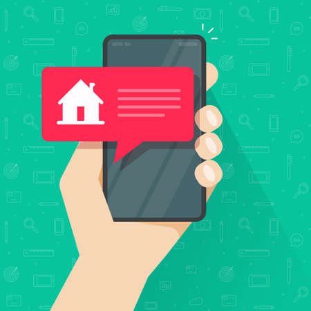 Notice info message from smart home automation control on cellphone mobile phone app screen vector flat cartoon, idea of security notification alarm on smartphone, internet house wireless tech image 向量圖像