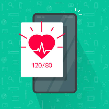 Monitoring or check heart beat rate test and blood pressure app via mobile cell phone vector flat cartoon, tracking health information on smartphone, pulse healthcare, ecg heartbeat idea image