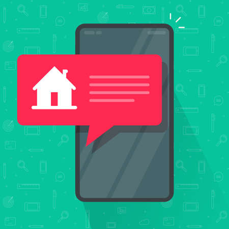 Cell phone automated smart home notice information message from mobile phone app vector flat cartoon icon, idea of security notification alarm on smartphone, internet house wireless technology image 向量圖像